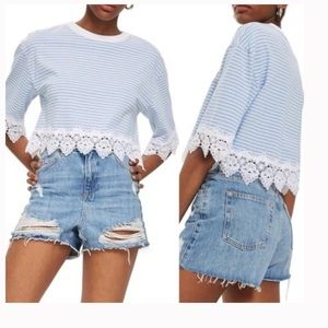 TOPSHOP Stripe Lace Hem Crop Shirt Size NEW